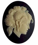 40x30 Resin Zodiac Virgo Cameo  Black and Ivory 559x