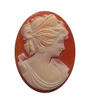 35x27mm Carnelian Italian Hand Carved Shell Cameo 565x