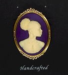 African American Woman Gold Brooch Pin Purple and Ivory African Jewelry Cameo Pin 569x748x