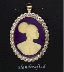 African American Woman Gold Rhinestone Pendant Purple Ivory African Jewelry Cameo Pin