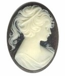 40x30mm Black and Light Ivory Pony Tail Woman Resin Cameo 56R