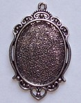 Antique Silver 40x30mm Cameo Cabochon Pendant Setting with Ring 580x