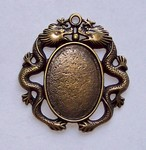 25x18mm Dragon Cabochon Setting Antique Bronze 582x