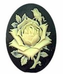 40x30mm Black and Ivory Rose Resin Cameo Cabochon 613R