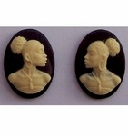 African American Cameo 18x13 Matched Pair Black and Ivory Resin Cameos 615x