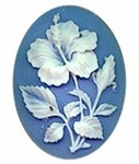 40x30mm Resin Cameo Hibiscus Blue Flower Jewelry Supply 618R