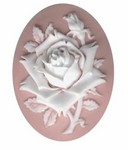 40x30mm Pink rose resin cameo cabochon 620q