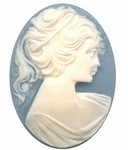 30x22mm Blue and White Ponytail Girl Resin Cameo 636R