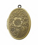 Locket with Etched Flowers Antique Bronze 30x23mm 642x