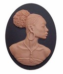 African American 40x30 Cameo Black Lady Resin Cameo Black and Brown 646x