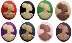 Black Woman Cabochon 40x30mm African American Cameo SET of 8 pcs.