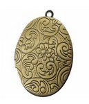 Antique Bronze Locket with Flower Pattern 34x24mm 696x