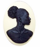 40x30mm Ivory and Black African American Resin Cameo 718x