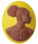 40x30mm Mustard Yellow and Brown African American Resin Cameo 720x