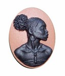 25x18mm Brown and Black African American Resin Cameo 723x