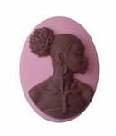 25x18mm Pink and Brown African American Resin Cameo 730x