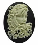40x30mm Fantasy Art Nouveau Woman Black and Ivory Resin Cameo 737x