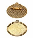 40x30mm Antique Gold HORIZONTAL Cabochon Brooch Setting with Pin Back 742x