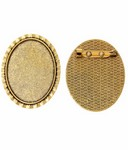 40x30mm Antique Gold Brooch Setting with Pin 746x