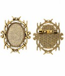 25x18mm Antique Gold Brooch Setting with Pin 747x