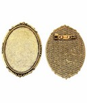 40x30mm Antique Gold Brooch Setting with Pin 748x