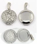 Silver Filigree Perfume Scent Locket with Bail 27mm Item 750x