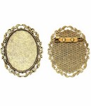40x30mm Gold Brooch Setting Cameo Setting with Pin 760x