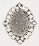 25x18mm Antique Silver Cameo Cabochon Pendant Setting Frame 771x