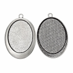 40x30mm Antique Silver pendant tray cameo Setting with Ring 782x