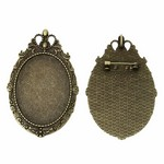 40x30mm Antique Bronze Cameo Backing  Pendant and Brooch Setting with Pin
