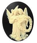 Valentine Angels Resin Cameo 40x30mm Holiday Theme Cabochon Black Ivory 7c