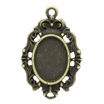 14x10mm Antique Bronze Pendant Cabochon Setting 801x