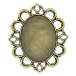 40x30mm Antique Bronze Pendant Cabochon Cameo Setting 808x