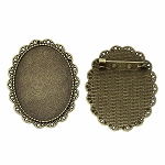 40x30mm Antique Bronze Cameo Cabochon Brooch Setting with Pin Back 810x