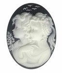 40x30mm Black Ivory Resin Cameo of Two Sisters Jewelry Finding 813q