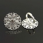 Silver Tone Filigree Adjustable Ring blank glue on jewelry finding   814x