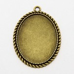 Antiqued Bronze 40x30mm Cameo Pendant Setting with Ring Item 815x
