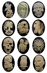 40x30mm 12pcs.  Zombie Walking Dead Goth Style Black Resin Cameos cabochon
