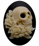 40x30mm Skull Goth Style Black Resin Cameo Flat back Cabochon 819x