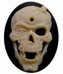 40x30mm Skull Skeleton Zombie Goth Style Black and Ivory Resin Cameo 822x