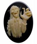 40x30mm Zombie Walking Dead Goth Style Black and Ivory Resin Cameo 826x