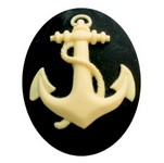 40x30mm Anchor Resin Cameo Black and Ivory Sailor Navy Marine Theme 842x