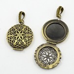 Antique Bronze Filigree Perfume Scent Locket with Bail 856x