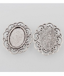 18x13mm Antique Silver Cabochon Pendant Setting NO RING 883x