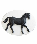 40x30mm Black Equestrian Horse Flat Back Resin Cameo 892x