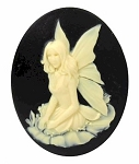 40x30mm Fairy Nymph Resin Cameo Black Ivory Resin Cameo 898x