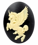 40x30mm Mythological Unicorn Resin Cameo Creme on BlackCabochon 899x