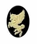 25x18mm Mythological Unicorn Resin Cameo Creme on Black 900x