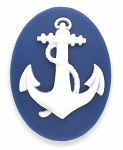 40x30mm Anchor Marine Navy Sailor Resin Cameos Blue White 901x