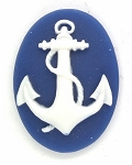 25x18mm Anchor Marine Navy Sailor Resin Cameos Blue White 902x